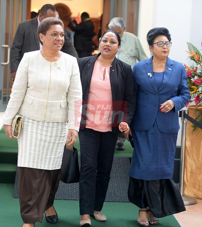 Minister for Women, Meresaini Vuniwaqa, Minister for Trade and Tourism Premila Kumar and Assistant Minister for Women, Veena Bhatnagar outside Parliament on August 7, 2019. Photo: Ronald Kumar.