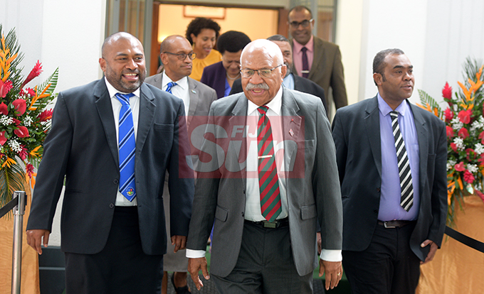 Minister for Health, Dr. Iferemi Waqainabete (from left) with Opposition Leader, Sitiveni Rabuka and Mosese Buitavu outside Parliament on August 7, 2019. Photo: Ronald Kumar.