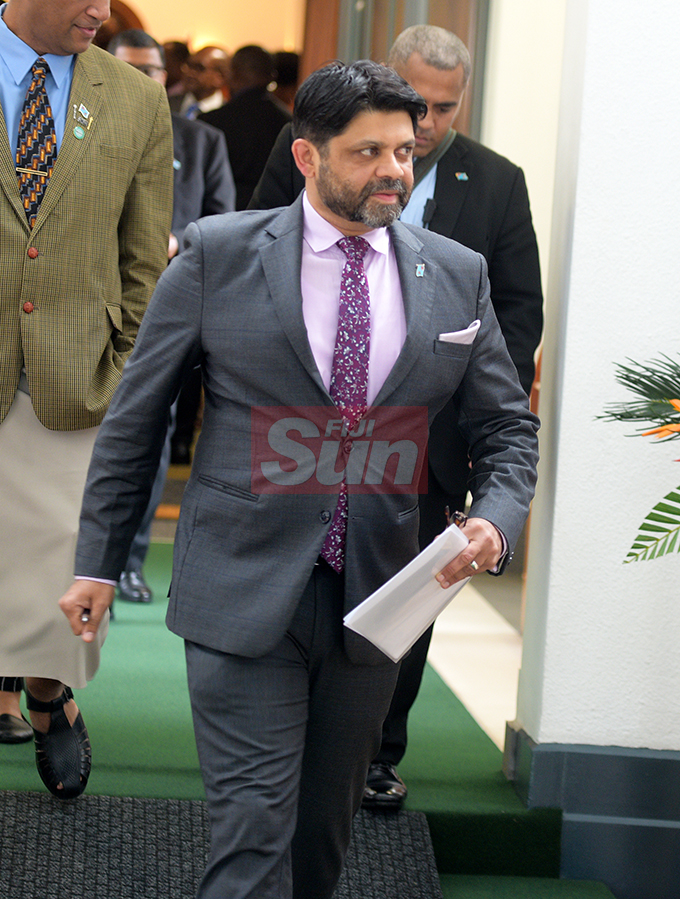 Attorney General Aiyaz Sayed-Khaiyum outside Parliament on August 7, 2019. Photo: Ronald Kumar.