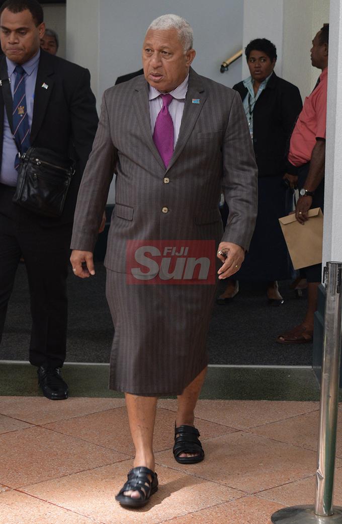 Prime Minister Vorege Bainimarama outside Parliament on August 7, 2019. Photo: Ronald Kumar.