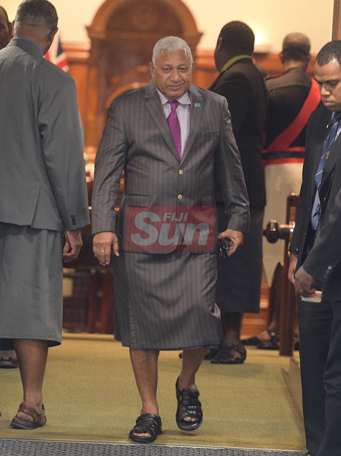 Prime Minister Voreqe Bainimarama outside Parliament on August 7, 2019. Photo: Ronald Kumar.