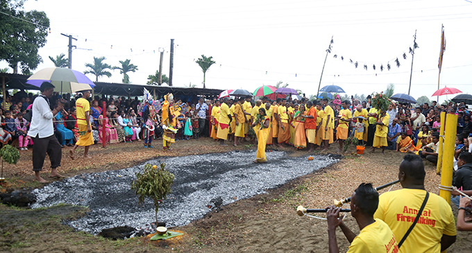 Devotees at the annual firewalking ceremony at the TISI Sangam Mariamman temple in Naitata, Navua, on August 4, 2019.  Photo: Simione Haravanua