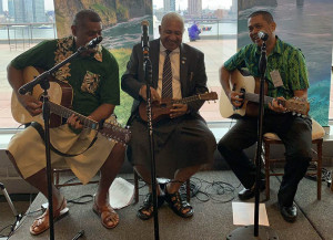 Prime Minister Voreqe Bainimarama enjoys a musical moment with Fijian musicians in New York.