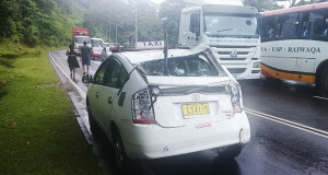 The taxi that was hit by the bus at Rodwell Road in Edinburgh Drive.