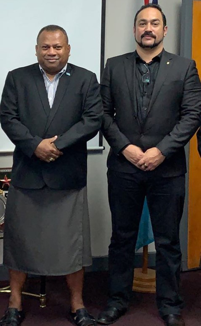 Minister for Defence and National Security, Inia Seruiratu with Transnational crime specialist Jose Sousa-Santos.