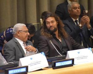 The Prime Minister Voreqe Bainimarama and Jason Momoa sharing small islands insights at UN headquarters.