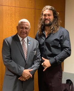 Prime Minister Voreqe Bainimarama and Aquaman Hollywood movie star Jason Momoa after the high-level meeting to review progress made in addressing the priorities of Small Island Developing States (SIDS) through the implementation of the Accelerated Modalities of Action (SAMOA) Pathway in New York.