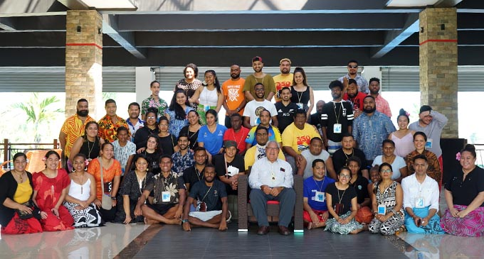 Pacific climate Warriors from the around the region including Australia, New Zealand and United States America with Titular Head of Tokelau Faipule Elehi  Kelehiano Kalolo (front- middle) at the first inaugural Pacific Pawa Shift at Nasau Resort in Nadi. Photo: 350 Pacific