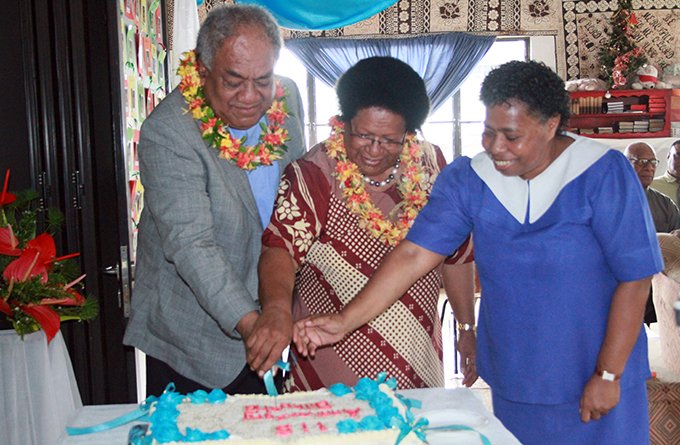 From left: President of the Methodist Church of Fiji and Rotuma, Reverend Epineri Vakadewavosa and wife Titilia cut the cake with Deaconess Salaseini  Kacivakawalu on September 16, 2019, at the Dilkusha Home in Nausori. Photo:  Kelera Sovasiga