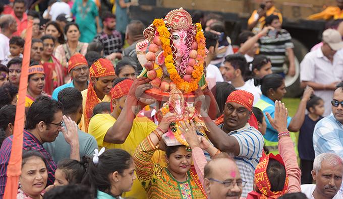 Hundreds of Hindu devotee gathered at My Suva Park in Suva to Mark the final ritual of Ganesh Utsav (Lord Ganesha prayer) on September 12, 2019. Photo: Ronald Kumar.