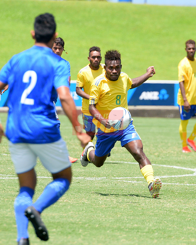 Patrick Taroga of Solomon Island against Samoa during OFC Men's Olympic qualifier 2019 group A match at ANZ Stadium on September 24, 2019. Photo: Ronald Kumar.
