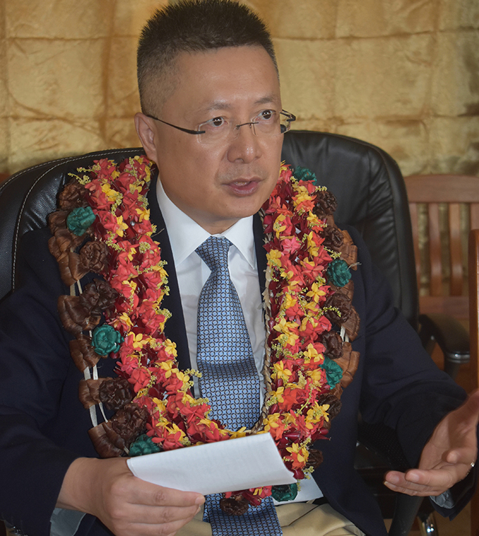 The Ambassador of the People's Republic of China to Fiji, Qian Bo, while addressing the 168 Republic of Fiji Military Forces personnel who will be undergoing pre-deployment training at the RFMF Blackrock camp in Nadi on September 11, 2019. Photo: Salote Qalubau