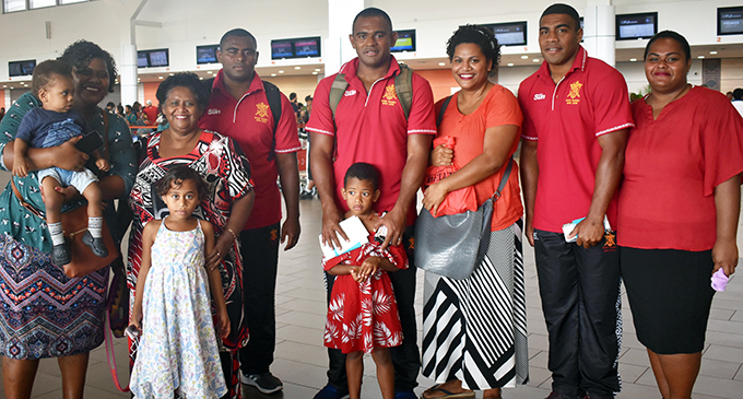From left: Viliame Tui, Vilive Aria and Apisalome Vota with their family members at the Nadi International Airport on September,10,2019 . Photo: Salote Qalubau