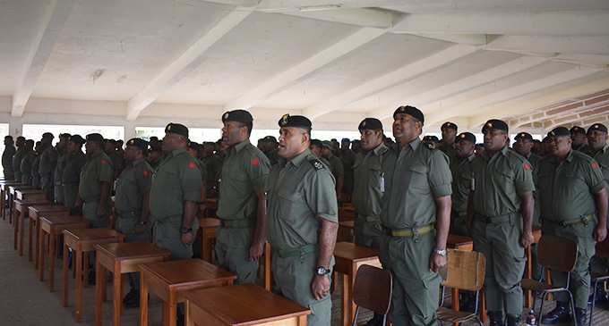 Members of the Republic of Fiji Military Forces who will undergo pre-deployment training at the Black Rock Camp in Nadi. Photo: Salote Qalubau