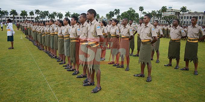 Ratu Sukuna Memorial School (RSMS) students during their cadet pass-out Parade at Albert Park on September 4, 2019. Photo: Ronald Kumar.