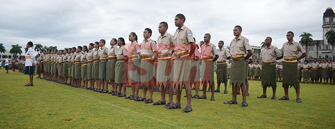 Ratu Sukuna Memorial School (RSMS) students during cadet pass-out Parade at Albert Park on September 4, 2019. Photo: Ronald Kumar.