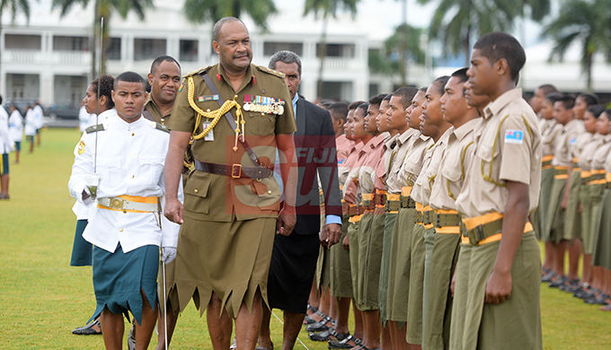Ratu Sukuna Memorial School (RSMS) cadet pass-out Parade Commander (left) Taka Vulaono leads Chief Guest RFMF Commander Land Force Col. Manua Gadai for Parade inspection at Albert Park on September 4, 2019. Photo: Ronald Kumar.