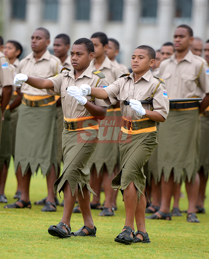 Ratu Sukuna Memorial School (RSMS) year 9 students Luke Ravulu (left) and Bob Osbourne during their pass-out Parade at Albert Park on September 4, 2019. Photo: Ronald Kumar.