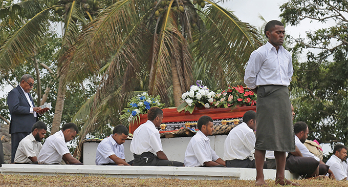 Pallbearers during Ratu George Kadavulevu's funeral at Bau Island on September 13, 2019. Photo: Ilaijia Ravuwai