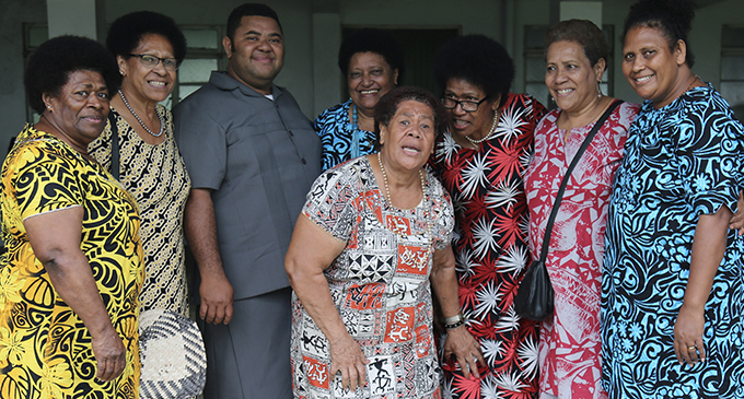 Newly-ordained Reverend Father Isikeli Tuilevuka (third from left), with the Catholic Women's League at St Joseph's Secondary School hall on September 14, 2019. Photo: Ilaijia Ravuwai