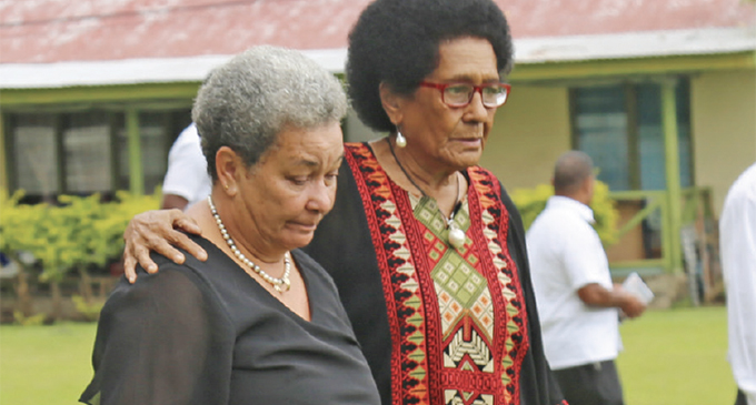 From left: Sereana Kadavulevu (the late Ratu George Kadavulevu's widow) with Adi Litia Cakobau during Ratu George Kadavulevu's funeral at Bau Island on September 13, 2019. Photo: Ilaijia Ravuwai
