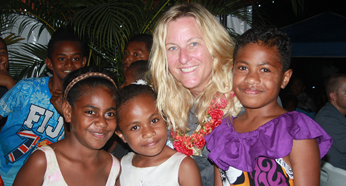 Eco-Challenge show-runner and executive producer Lisa Hennessy with children from Draubuta Village at Nabitu District School on September 9, 2019.  Photo: Kelera Sovasiga