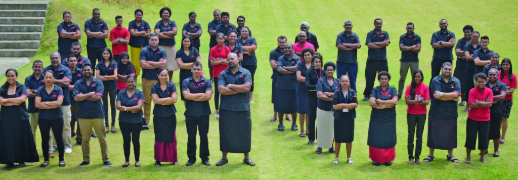 Fiji Sun staff members celebrate 20 years strong. The daily newspaper founded in 1999 by the late, visionary Sundip Patel leads the Fijian market in  readership and key advertising indicators. Photo: Ronald Kumar