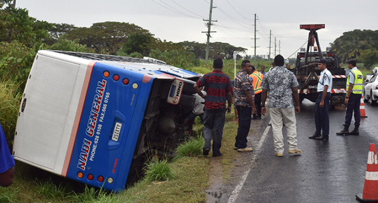 17 Students Safe After Bus Veered Into Drain In Nadi