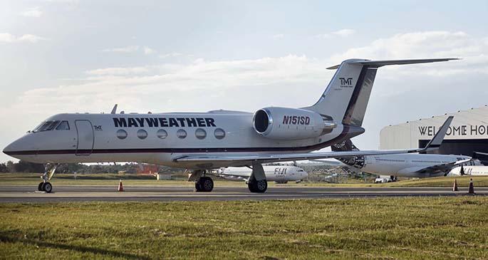 Floyd Mayweather Jr's private aircraft parked at Nadi International Airport on September 22, 2019. Photo: Waisea Nasokia