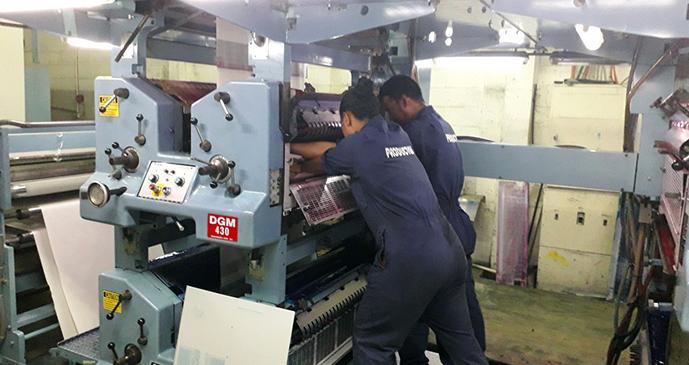Printers at work at the Fiji Sun Print Centre in Walubay.