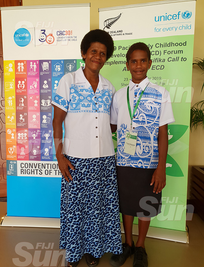Young climate change activist, Timoci Naulusala (right) with his mother, Raijeli Naulusala (left) at the 2019 Pacific Early Childhood Development Forum at the Sheraton Fiji Resort in Nadi on October 25, 2019. Photo: Nicolette Chambers