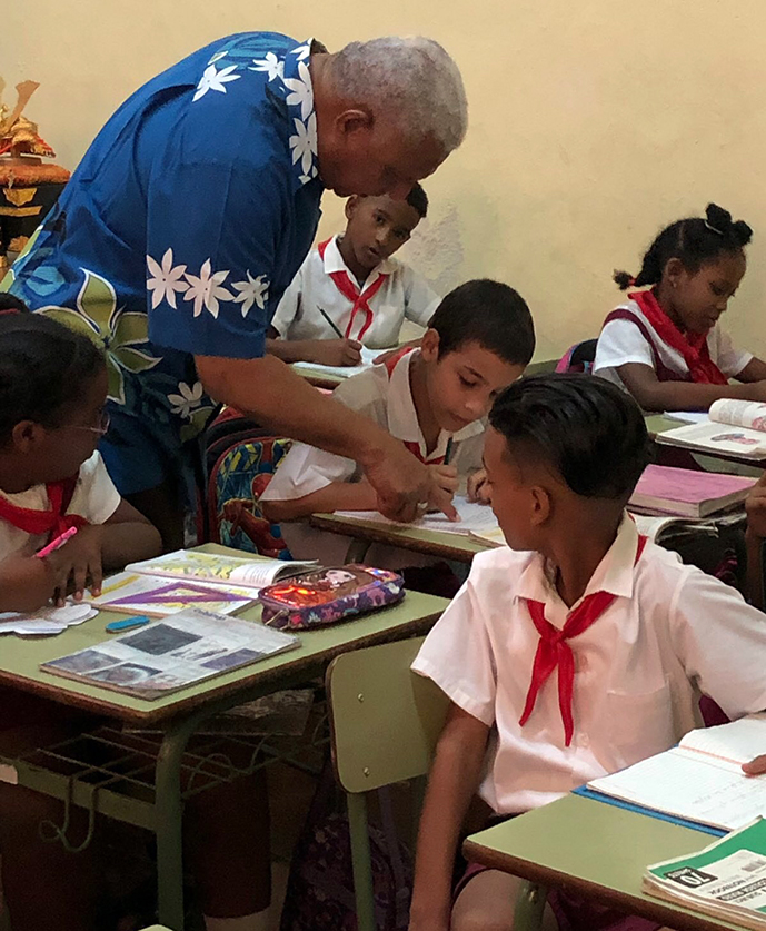Prime Minister Voreqe Bainimarama during his visit to a local Havana school. Photo: PM's Office