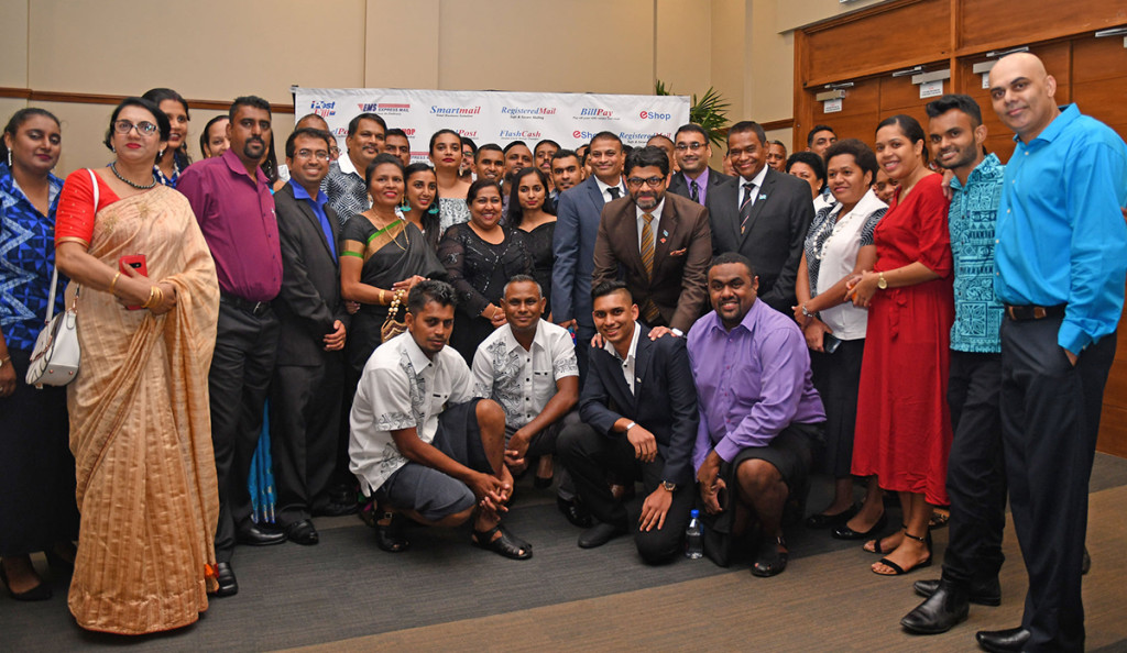 Attorney-General and Minister for Economy Aiyaz-Sayed Khaiyum, board directors and staff during the launch of the Post Fiji's E-commerce online platform at Suva's Grand Pacific Hotel on October 9, 2019. Photo: Laiseana Nasiga.