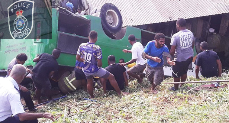 4 Students Rushed To Health Centre As Bus Overturns In Lakena, Nausori