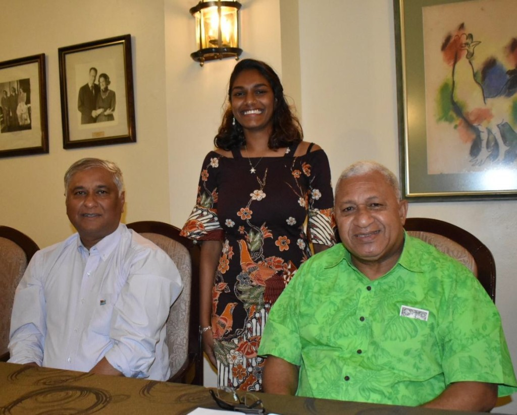 Prime Minister Voreqe Bainimarama with medical student Sanjana Singh (middle) and Fiji's Permanent Representative to the United Nations, Ambassador Satyendra Prasad in Havana, Cuba. Photo: PM's Office