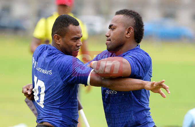 Fiji Sevens extended squad members, Alosio Naduva (left) and Waisea Nadogo during team training at Albert Park on October 23, 2019. Photo: Ronald Kumar.