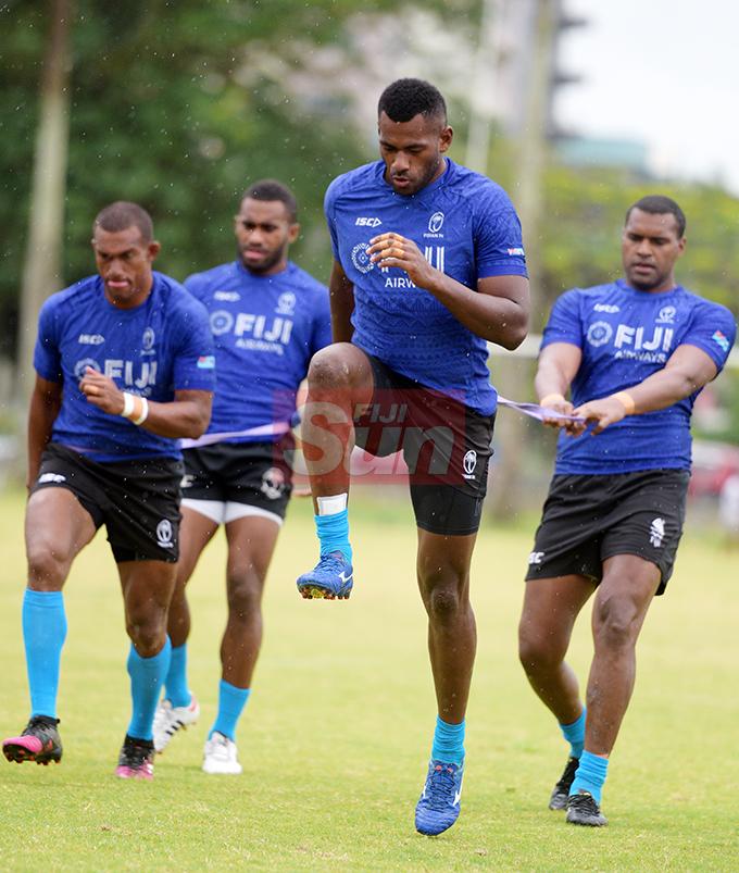 Fiji Sevens extended squad members, (from left) Suliano Volivolituevei, Viliame Botitu, Sevoloni Mocenacagi and Joshua Vakurinabili during team training at Albert Park on October 23, 2019. Photo: Ronald Kumar.