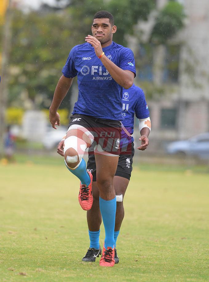 Fiji Sevens extended squad member, Meli Derenalagi  during team training at Albert Park on October 23, 2019. Photo: Ronald Kumar.