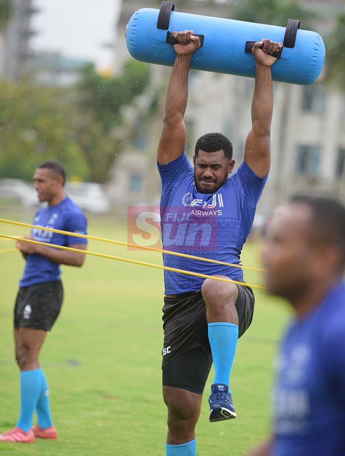 Fiji Sevens extended squad member, Kalioni Nasoko   during team training at Albert Park on October 23, 2019. Photo: Ronald Kumar.