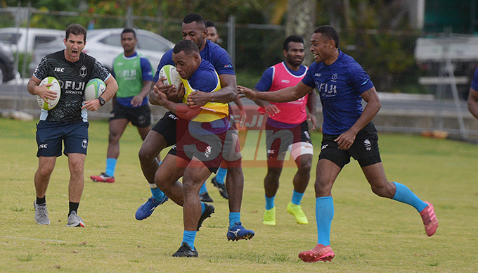 Fiji Sevens Head Coach, Gareth Baber (left) during extended squad training at Albert Park on October 23, 2019. Photo: Ronald Kumar.