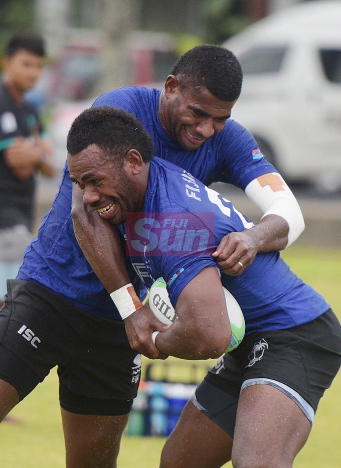 Fiji Sevens extended squad members, Suliano Volivolituevei and Kaveni Tabu during team training at Albert Park on October 23, 2019. Photo: Ronald Kumar.