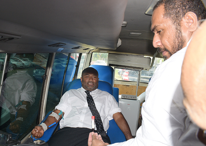 Minister for Health and Medical Servicers Dr. Iferemi Waqainabete donating blood to start off the Ministry of Health Blood drive campaign in Suva on  October 1, 2019.  Photo: Ronald Kumar