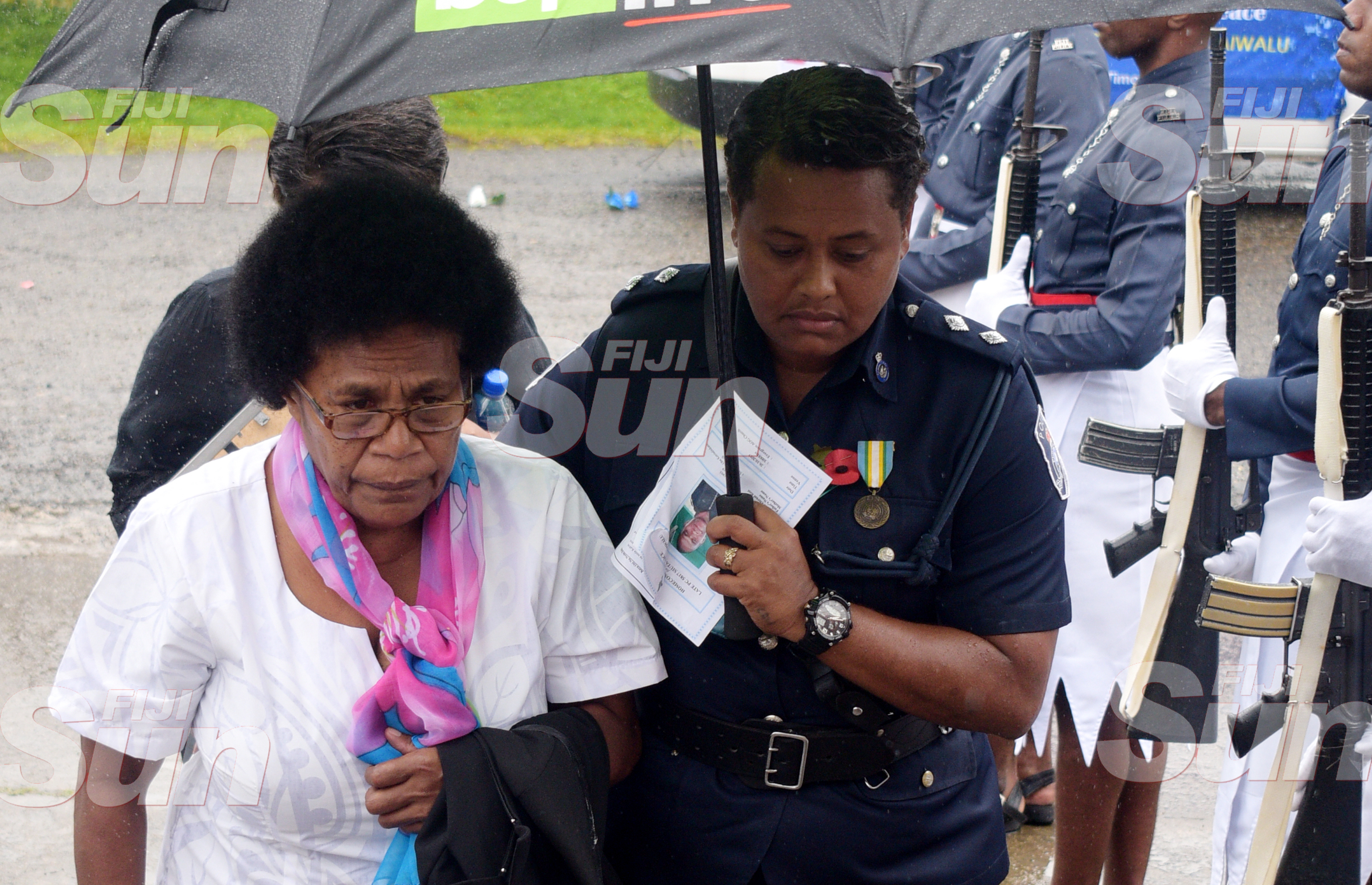 Late Constable Siuta Niumataiwalu's Mother, Makereta Koroi 66 (left) is consoled by Inspector Mariana Bulatolu during the funeral service at Evergreen AOG Church in Nasinu on October 26, 2019. Photo: Ronald Kumar.