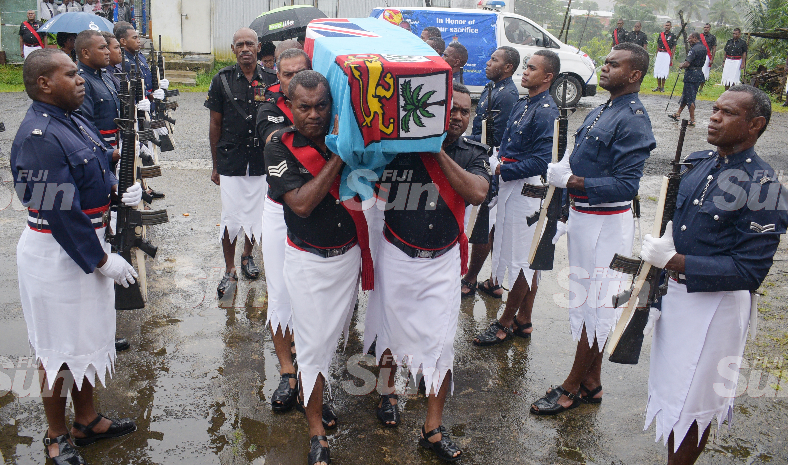 Police farewell Constable Siuta Niumataiwalu, who was killed in the line of duty at Evergreen AOG Church in Nasinu on October 26, 2019. Photo: Ronald Kumar.