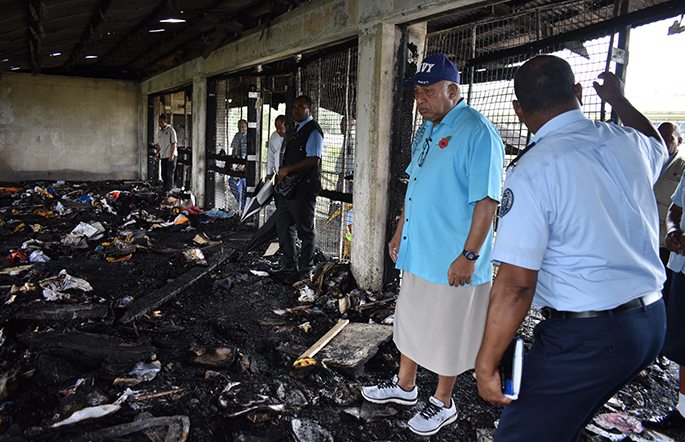 Prime Minister Voreqe Bainimarama on October 30, 2019, visits his former Degei House dormitory at Ratu Kadavulevu School, Tailevu, which was destroyed by fire last week. Photo: Office of the Prime Minister