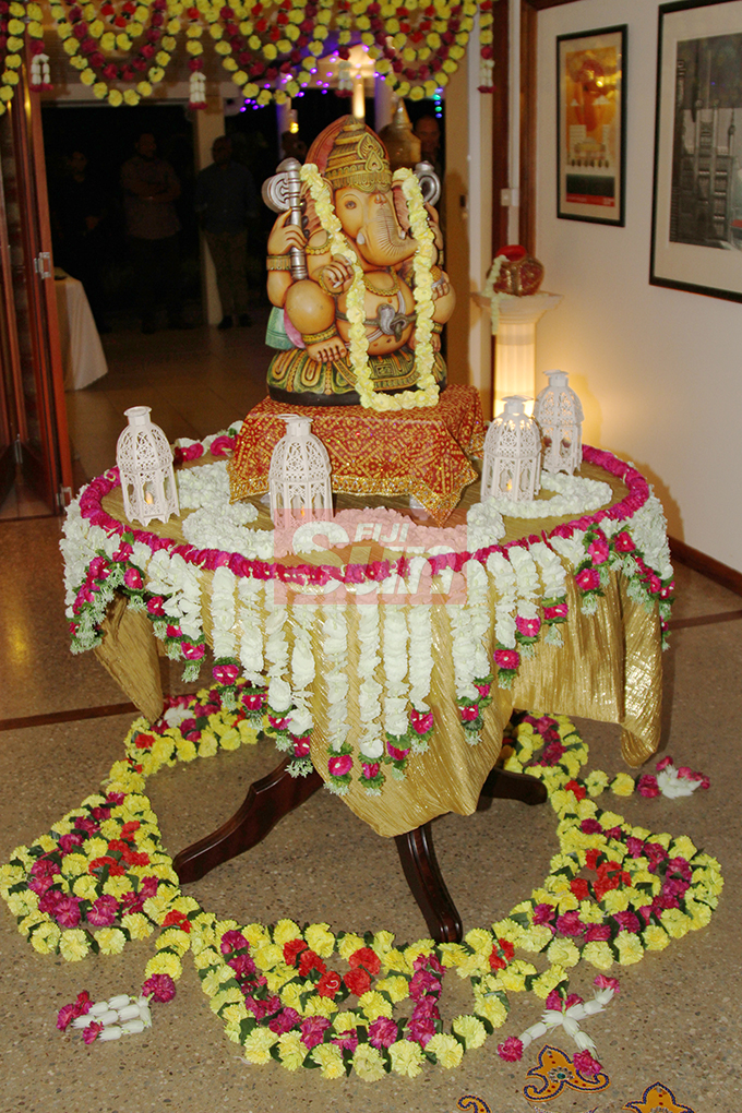 The statue of lord Ganesha setup at the British High Commissioner's residence on October 19, 2019. Photo: Kelera Sovasiga