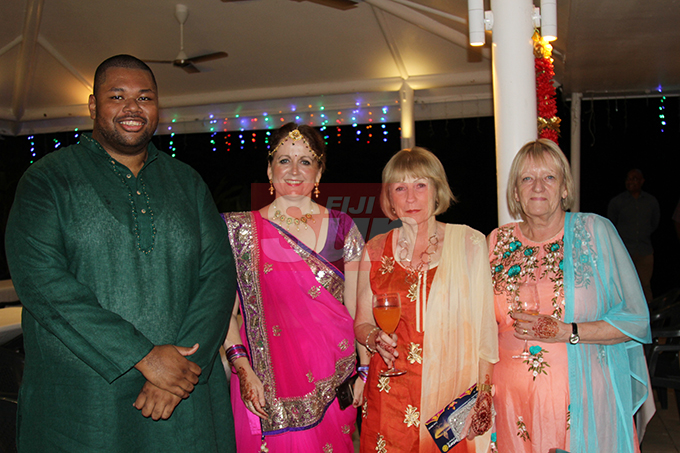 (From left) Reserve Bankl of Fiji rep, Poasa Werekoro, British High Commissioner Melanie Hopkins with her Mum Sue Hopkins and godmother Jenny Roberts. Photo: Kelera Sovasiga