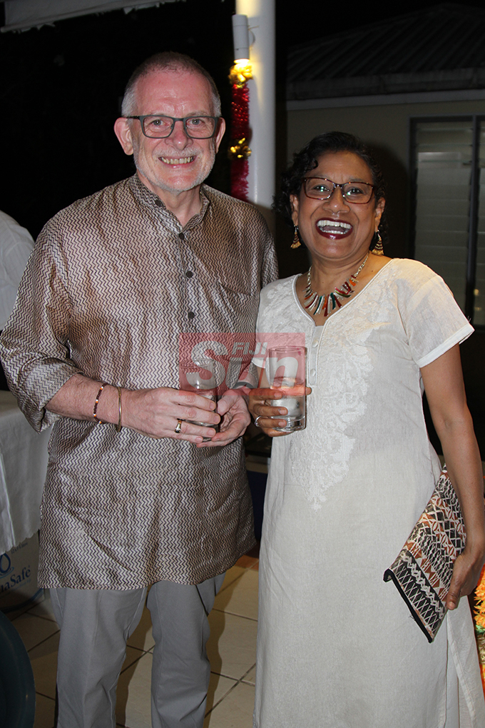 Derrick and Ann Armstrong at the British High Commissioner's residence on October 19, 2019. Photo: Kelera Sovasiga