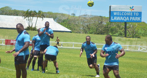 Fiji Airways Fijian Drua players 9left-right) Penijamini Makutu, Tevita Naqali, Johnny Dyer during the captain's run at Lawaqa Park in Sigatoka on October 11, 2019. Photo: Mereleki Nai