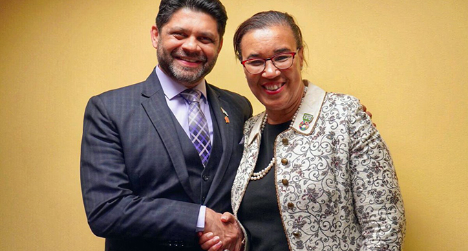 Attorney-General Aiyaz Sayed-Khaiyum with Commonwealth Secretary-General Patricia Scotland QC